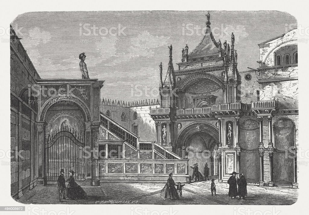 Doge's Palace in Venice, published in 1871 vector art illustration