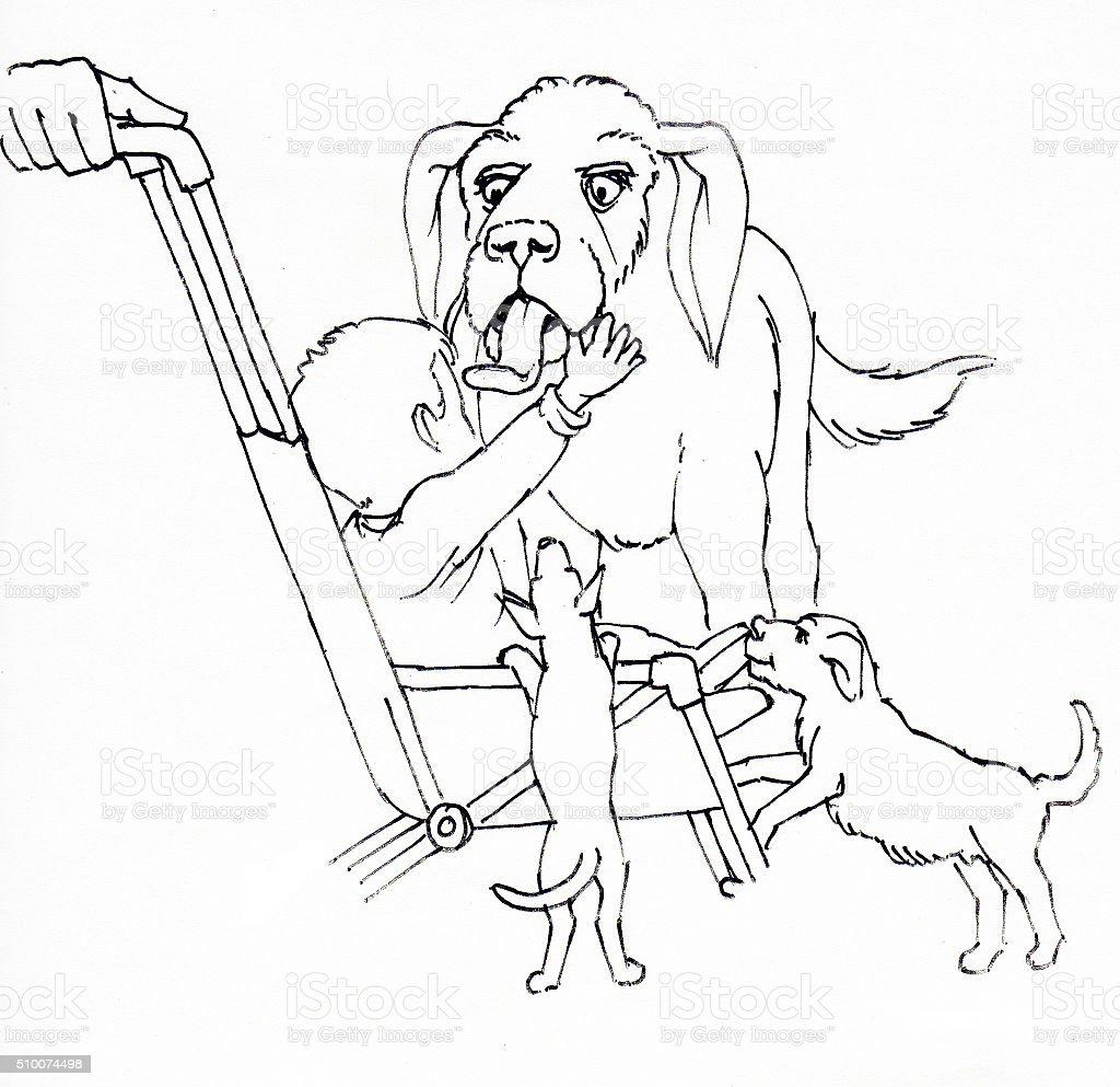 Hunde mit Kind Lizenzfreies vektor illustration