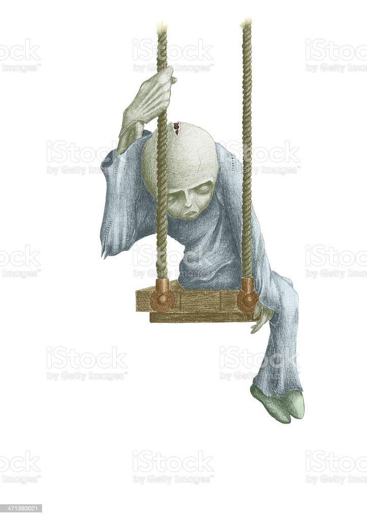 doll on swing vector art illustration