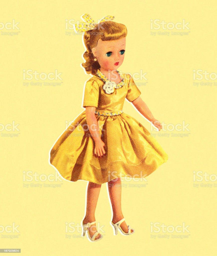 Doll Wearing Yellow Dress vector art illustration