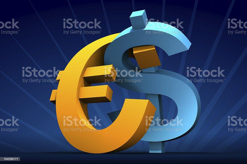 Dollar and Euro embrace vector art illustration