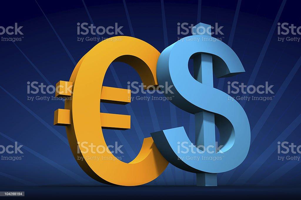 Dollar and Euro vector art illustration