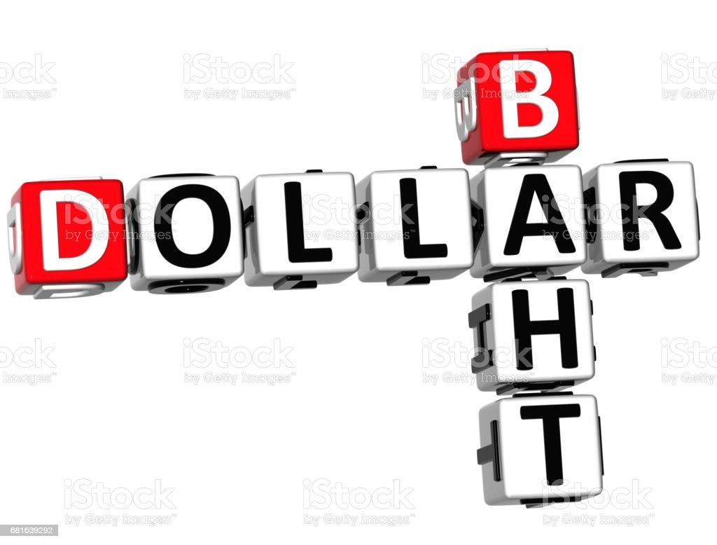3D Dollar Baht Crossword vector art illustration