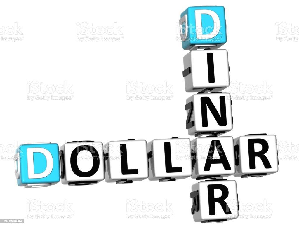 3D Dollar Dinar Crossword vector art illustration