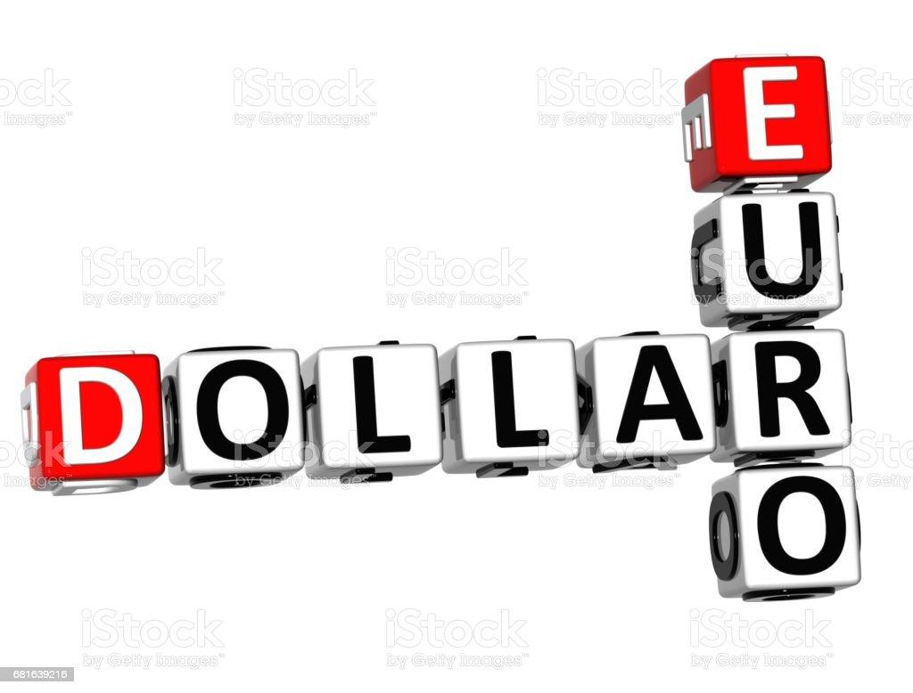 3D Dollar Euro Crossword vector art illustration