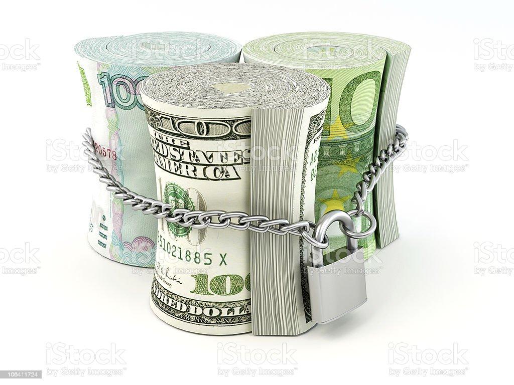 Dollar, euro, ruble on lock royalty-free stock vector art