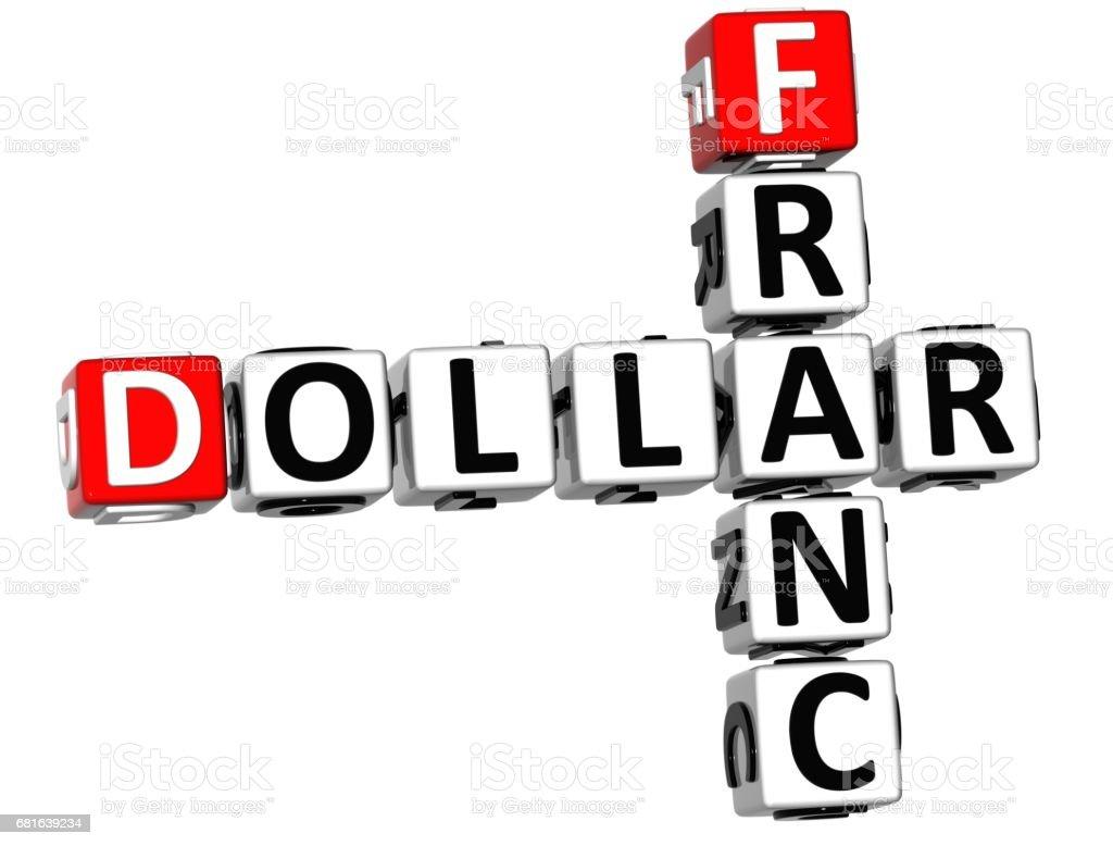 3D Dollar Franc Crossword vector art illustration