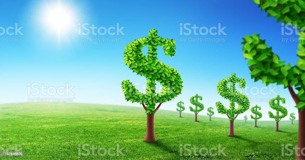 Dollar garden vector art illustration