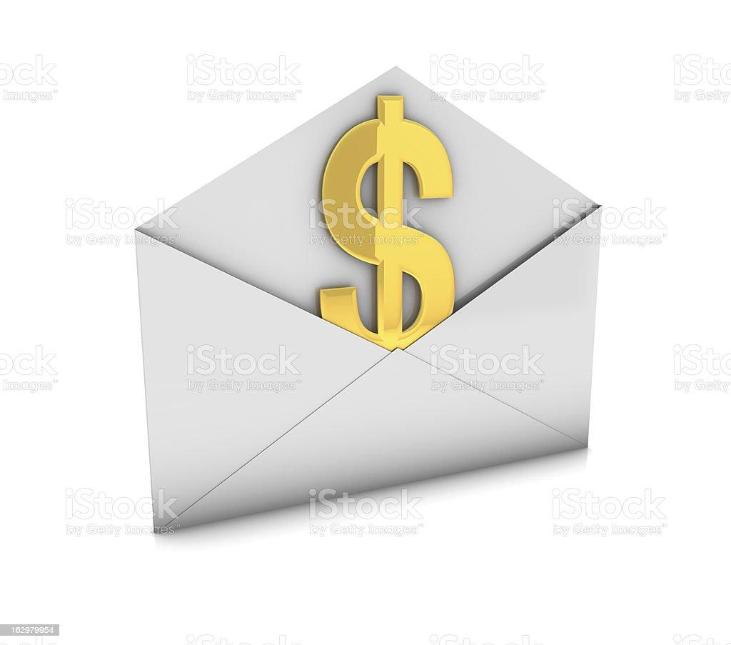 Dollar in envelope royalty-free stock vector art