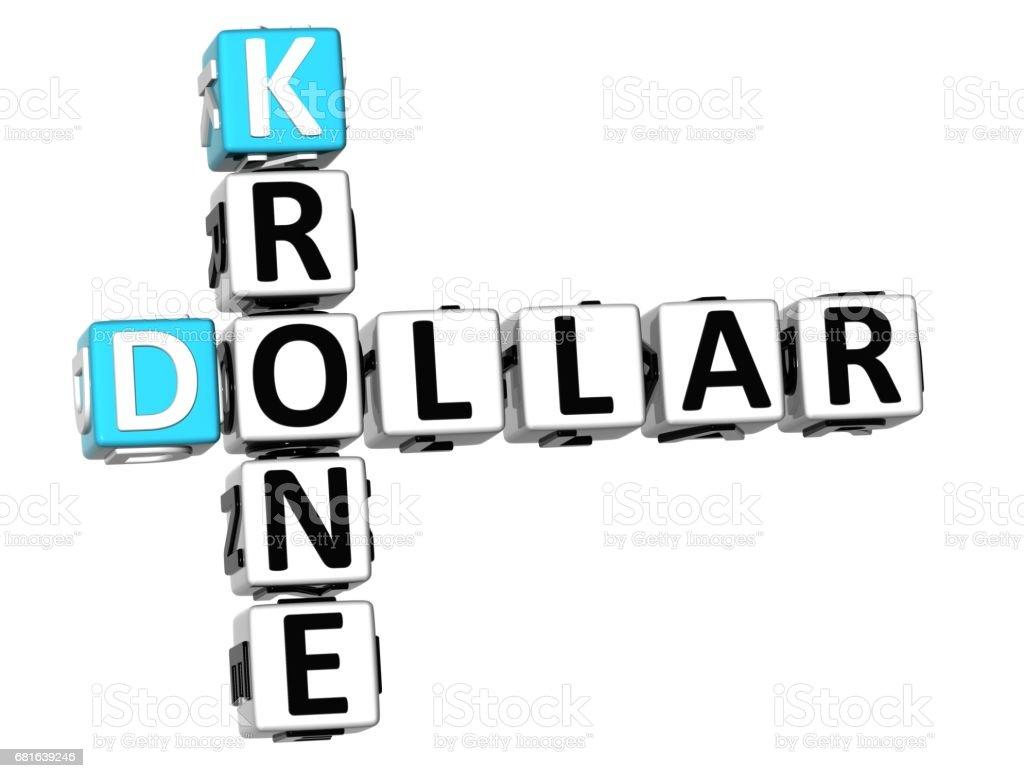 3D Dollar Krone Crossword vector art illustration