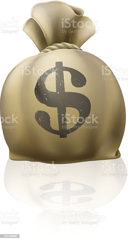Dollar money sack vector art illustration