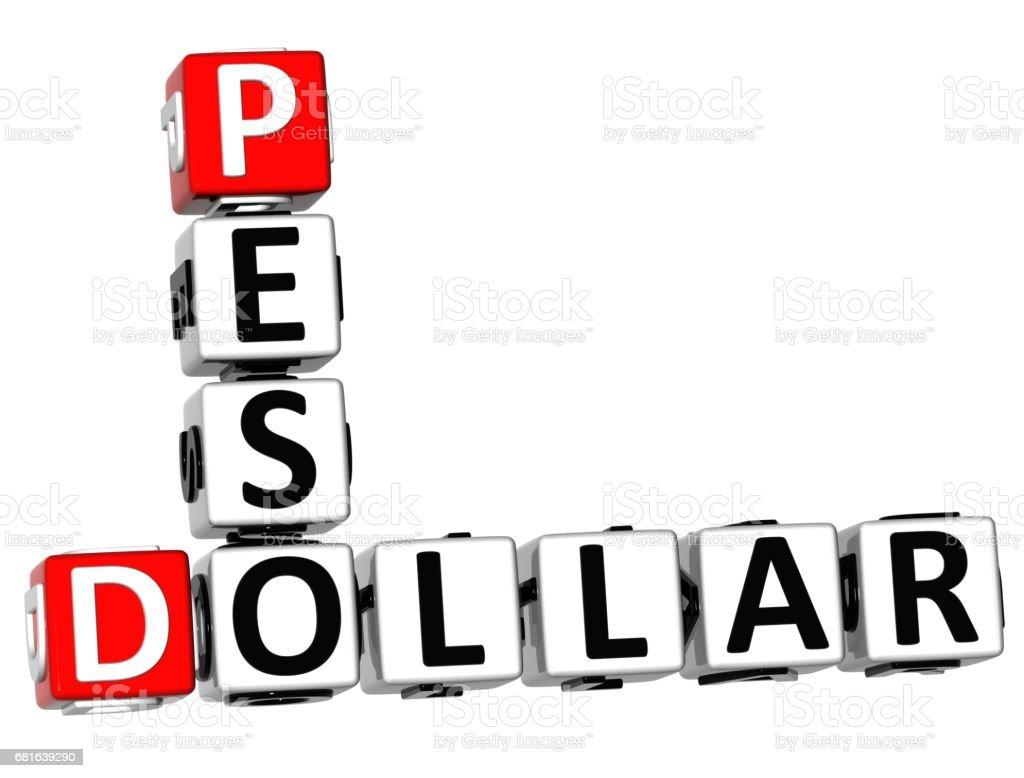 3D Dollar Peso Crossword vector art illustration