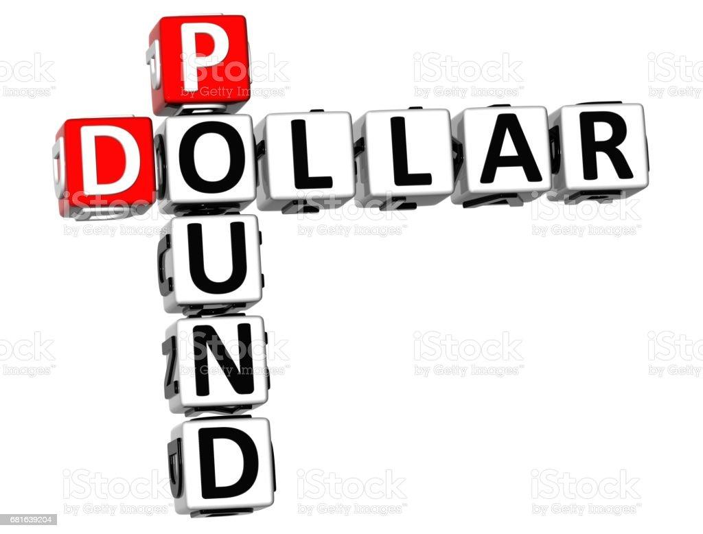 3D Dollar Pound Crossword vector art illustration