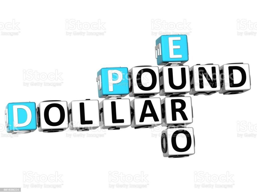 3D Dollar Pound Euro Crossword vector art illustration