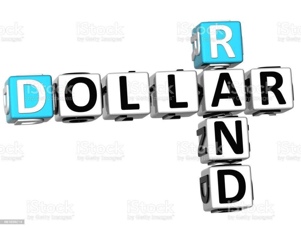 3D Dollar Rand Crossword vector art illustration