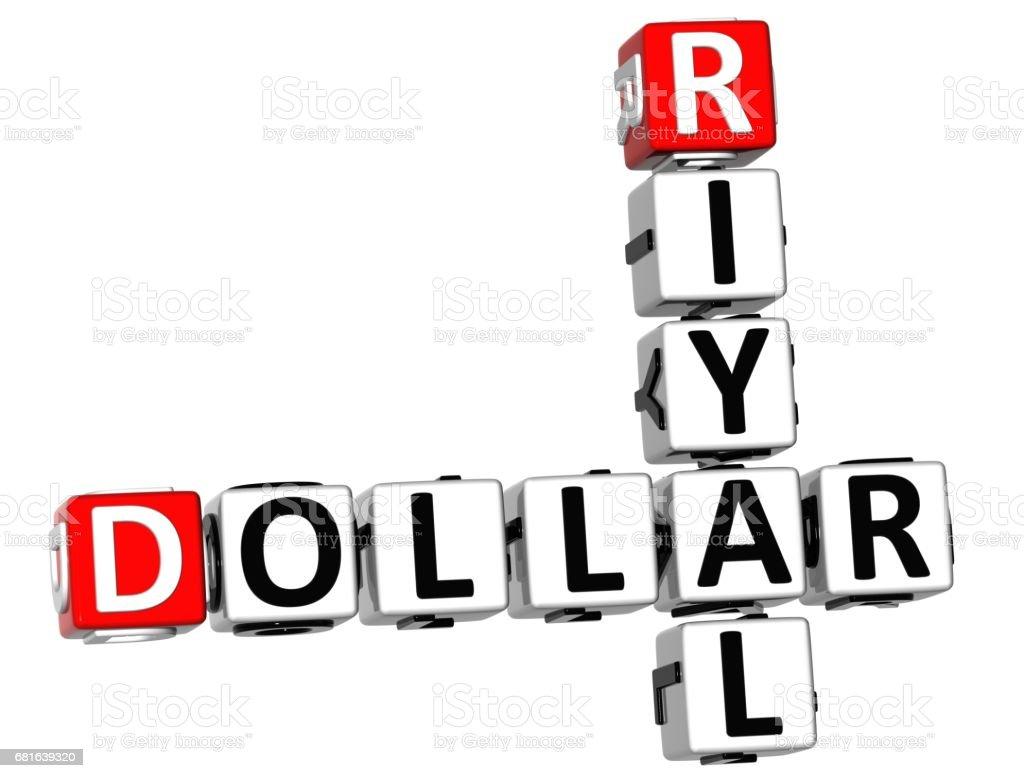 3D Dollar Riyal Crossword vector art illustration