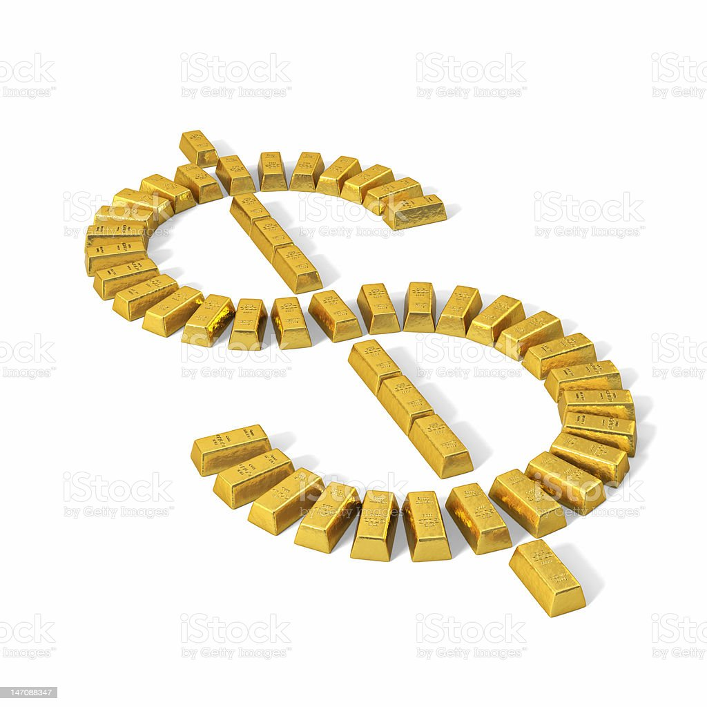 Dollar symbol from gold bars, perspective. royalty-free stock vector art