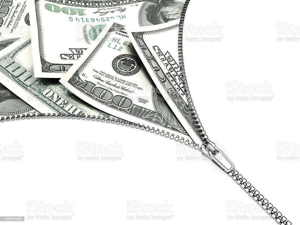 3D dollars on zipper royalty-free stock vector art