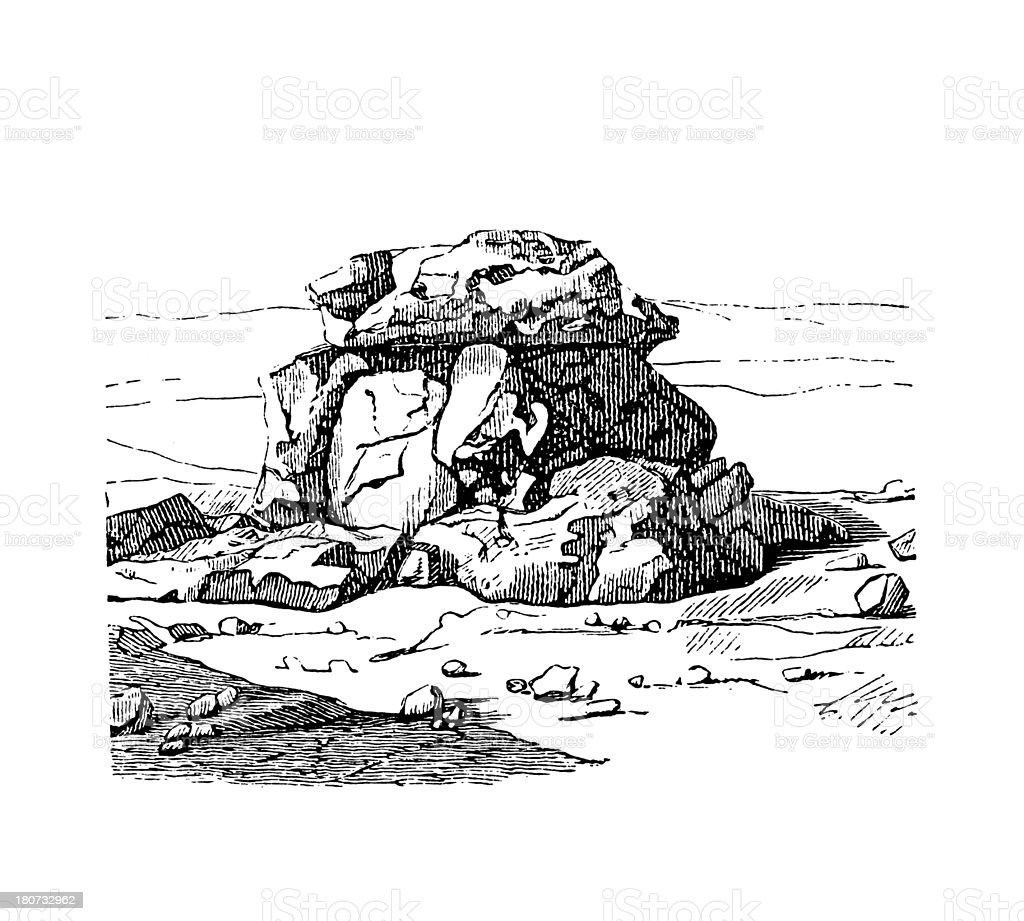 Dolmen in Syria (antique wood engraving) royalty-free stock vector art