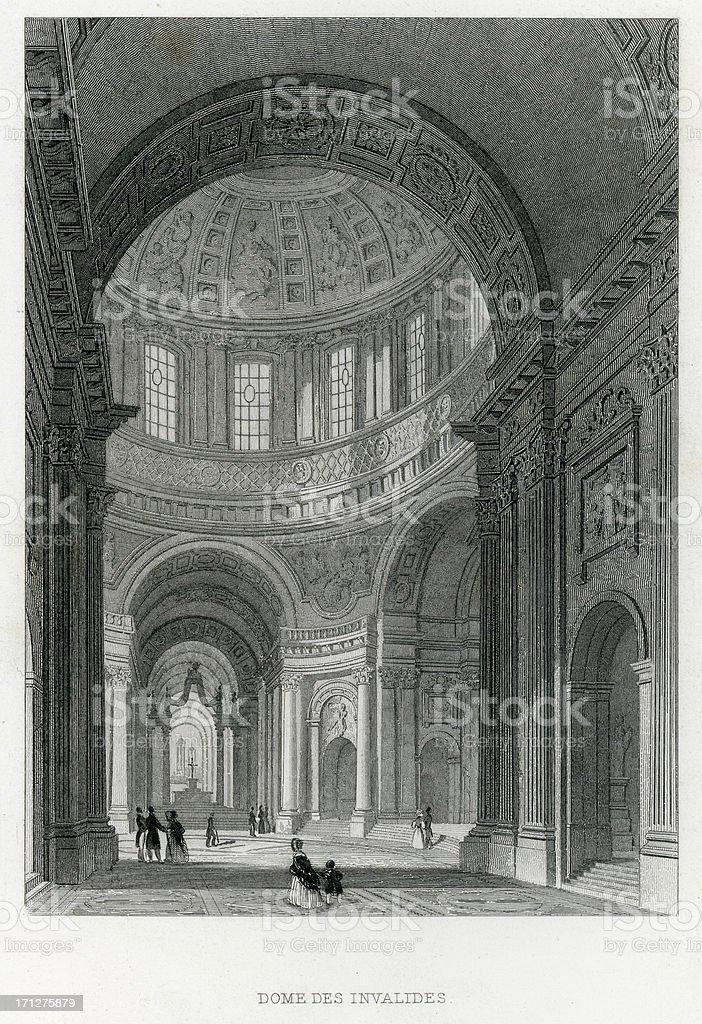 Dome Des Invalides, Paris royalty-free stock vector art