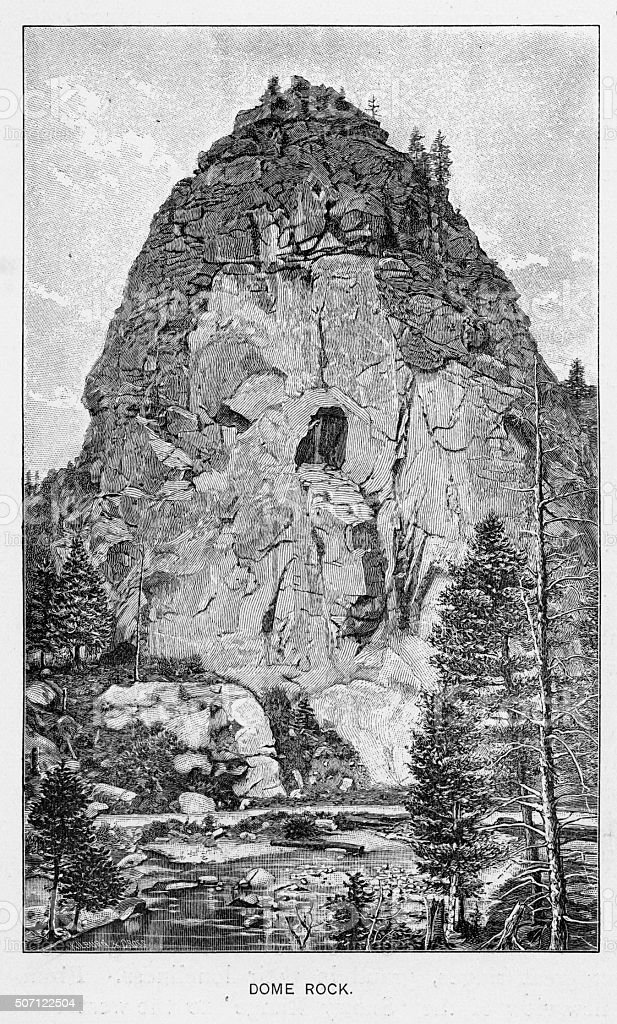 Dome Rock in Boulder Canyon Victorian Engraving stock photo