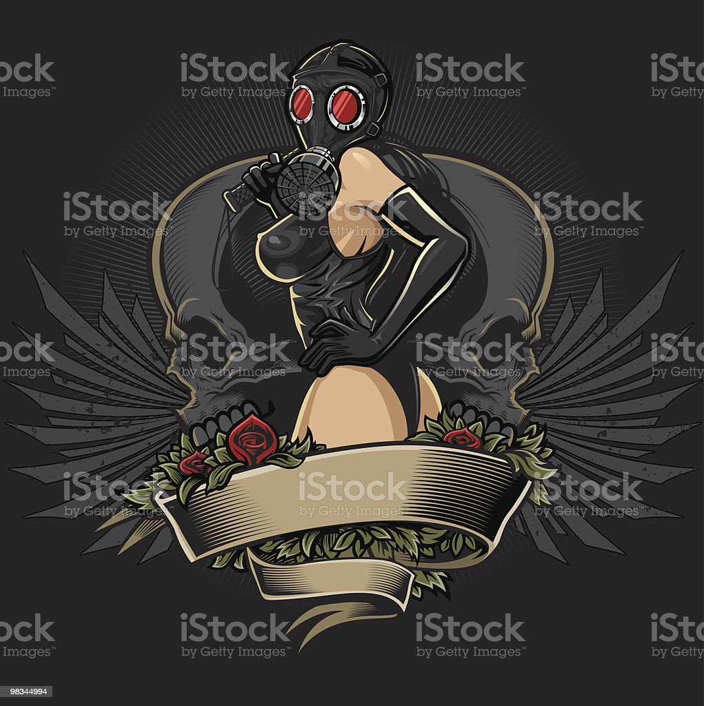 Dominatrix in Gas Mask Tattoo Design vector art illustration