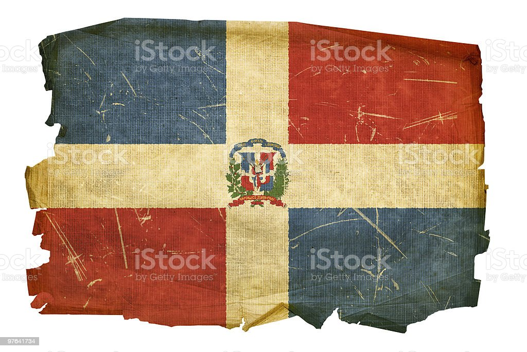 Dominican Republic Flag old, isolated on white background. royalty-free stock vector art