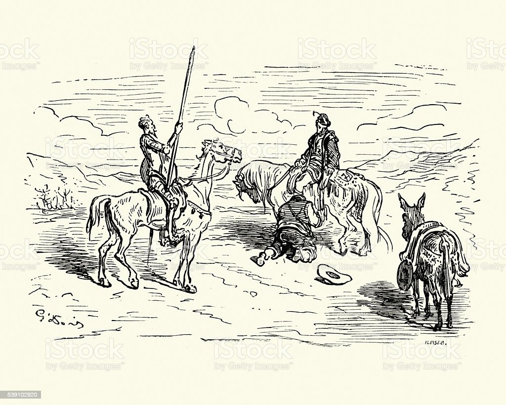 Don Quixote and Sancho Panza vector art illustration