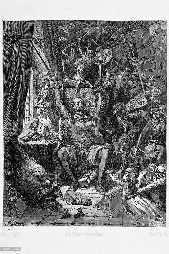 Don Quixote in his library royalty-free stock vector art