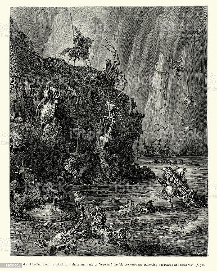 Don Quixote - Infinite multitude of fierce and terrible creature vector art illustration