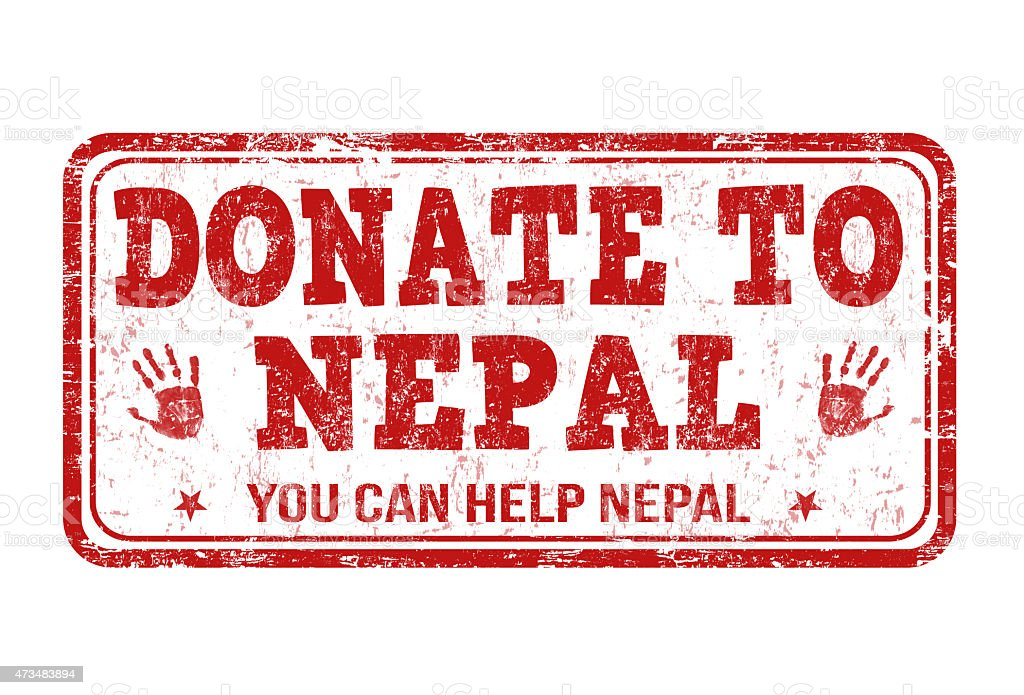 Donate to Nepal stamp vector art illustration