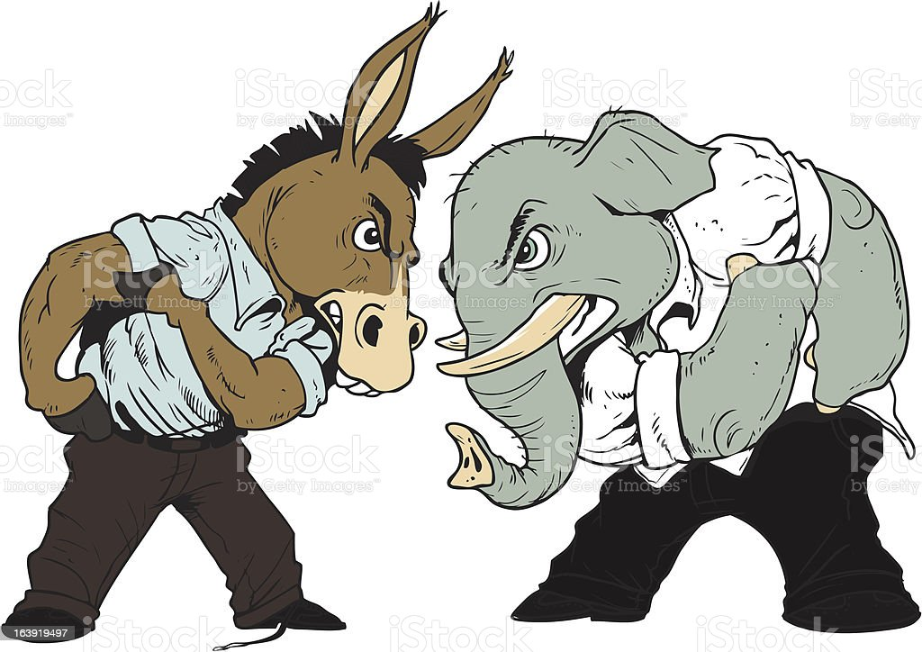 Donkey and Elephant Face Off. vector art illustration
