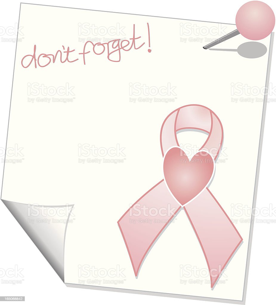 Don't Forget About Breast Cancer Reminder Note royalty-free stock vector art