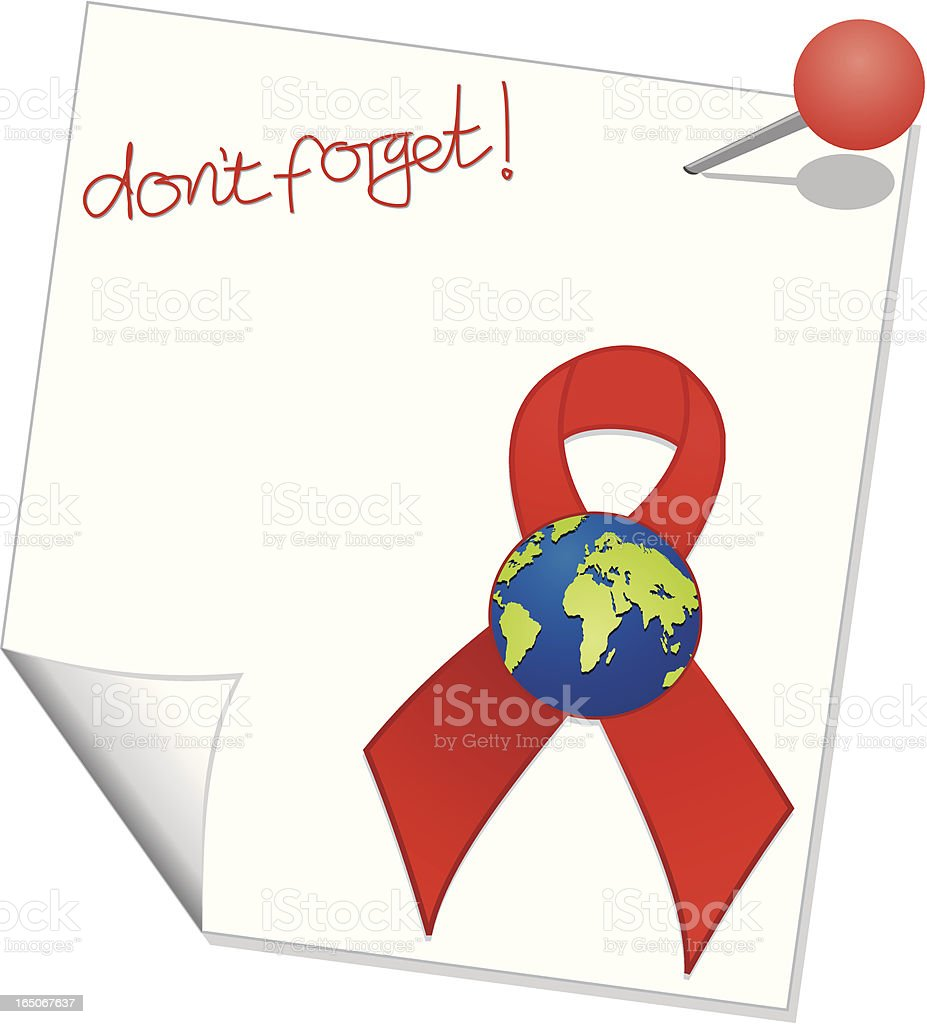 Don't Forget World AIDS Day Reminder Note royalty-free stock vector art