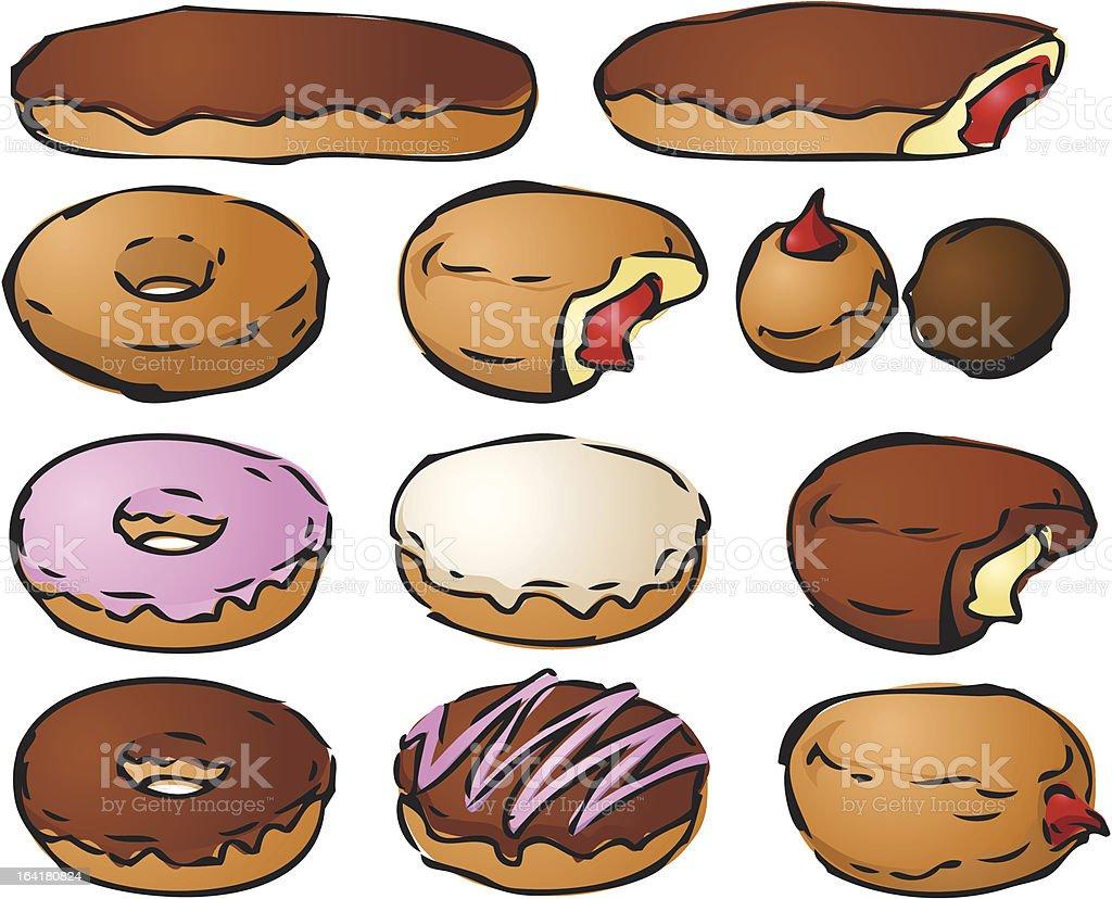 Donut illustrations royalty-free stock vector art