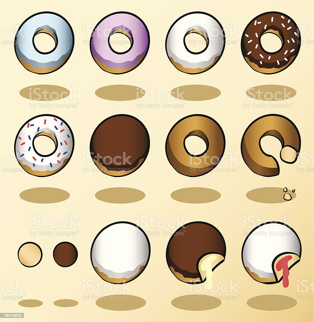 Donuts vector art illustration