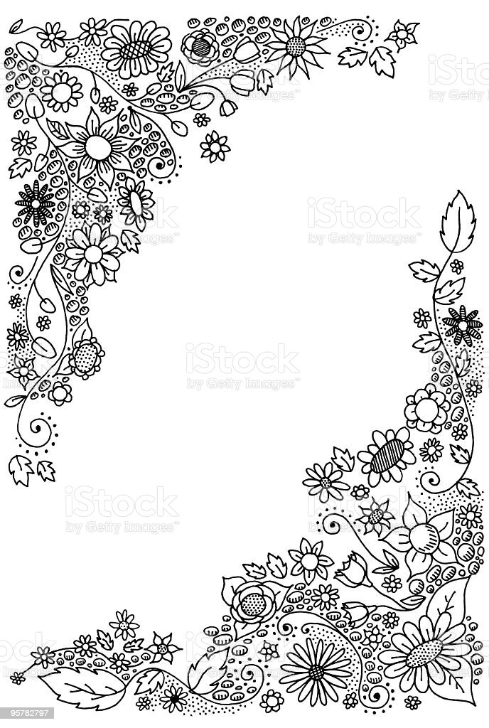 doodle flower corners vector art illustration