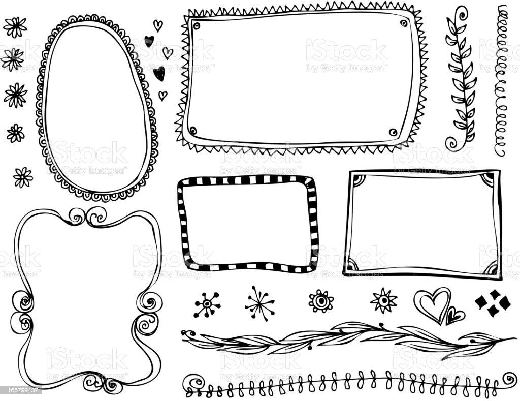 Doodle Frames and design elements vector art illustration