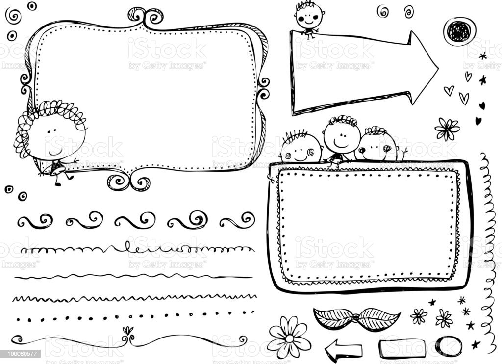 Doodle Frames and design elements royalty-free stock vector art