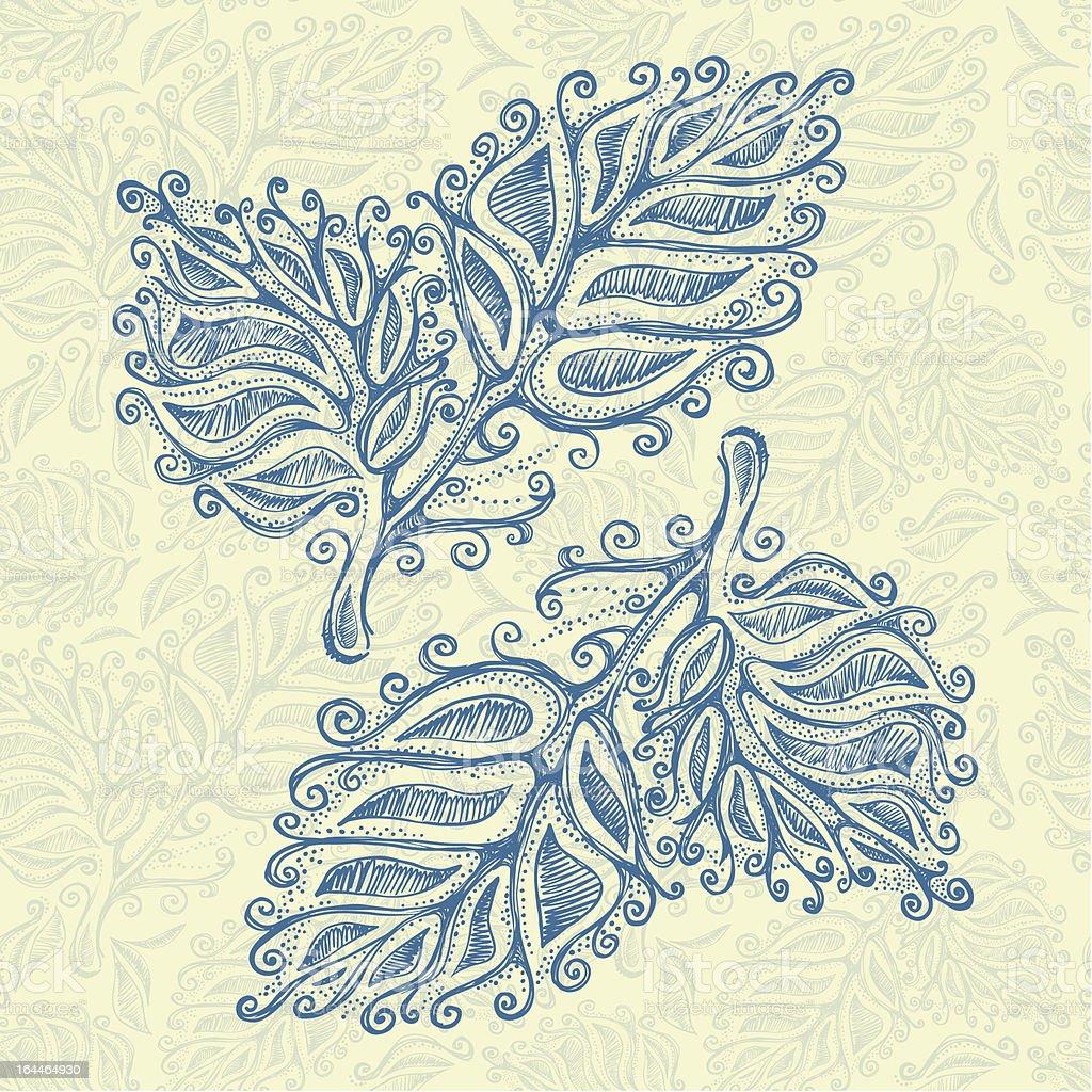 Doodle ink leaf pattern royalty-free stock vector art