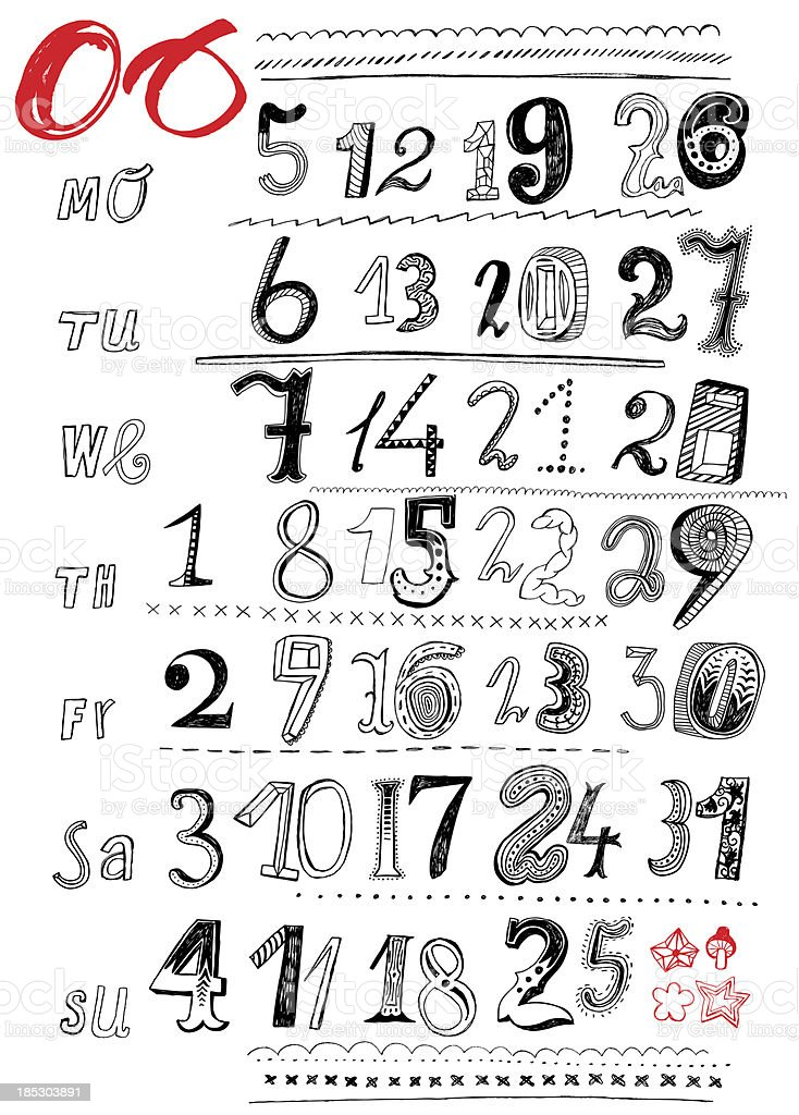Doodle numbers of calendar month royalty-free stock vector art