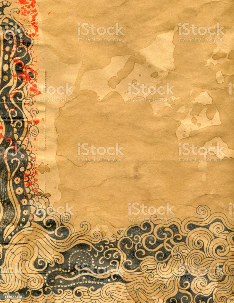 Doodle on stained paper royalty-free stock vector art