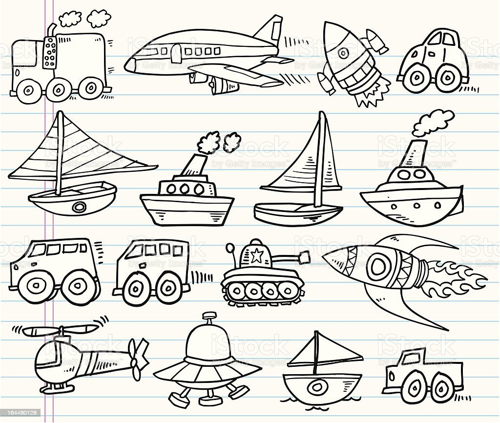 Doodle Transportation Set royalty-free stock vector art