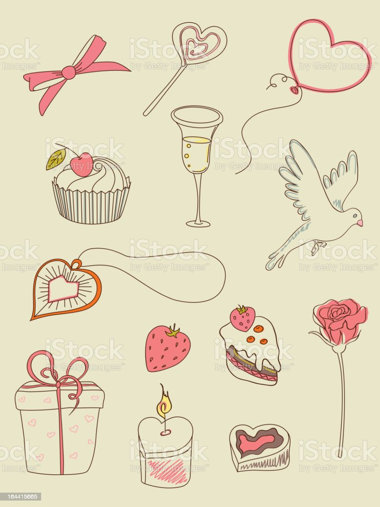 doodle Valentine's Day icons royalty-free stock vector art