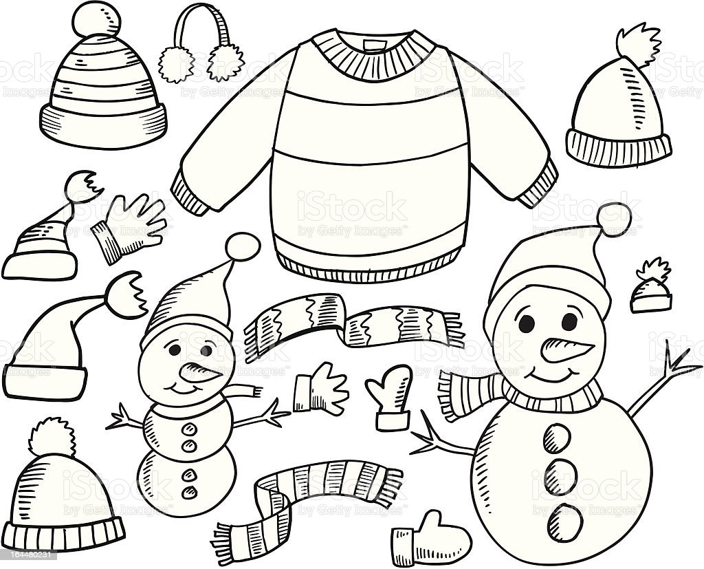 Doodle Winter Set royalty-free stock vector art