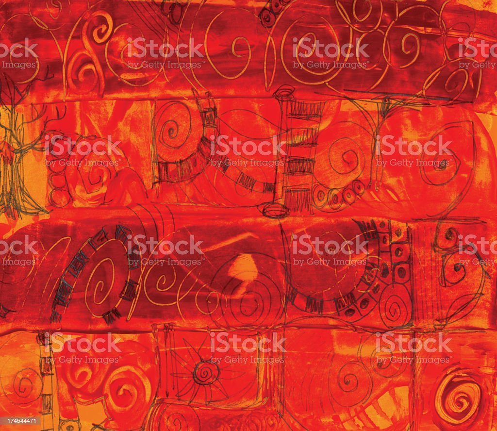Doodles on Painted Orange Background royalty-free stock vector art