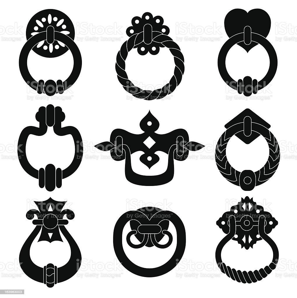 Door handle silhouettes vector art illustration