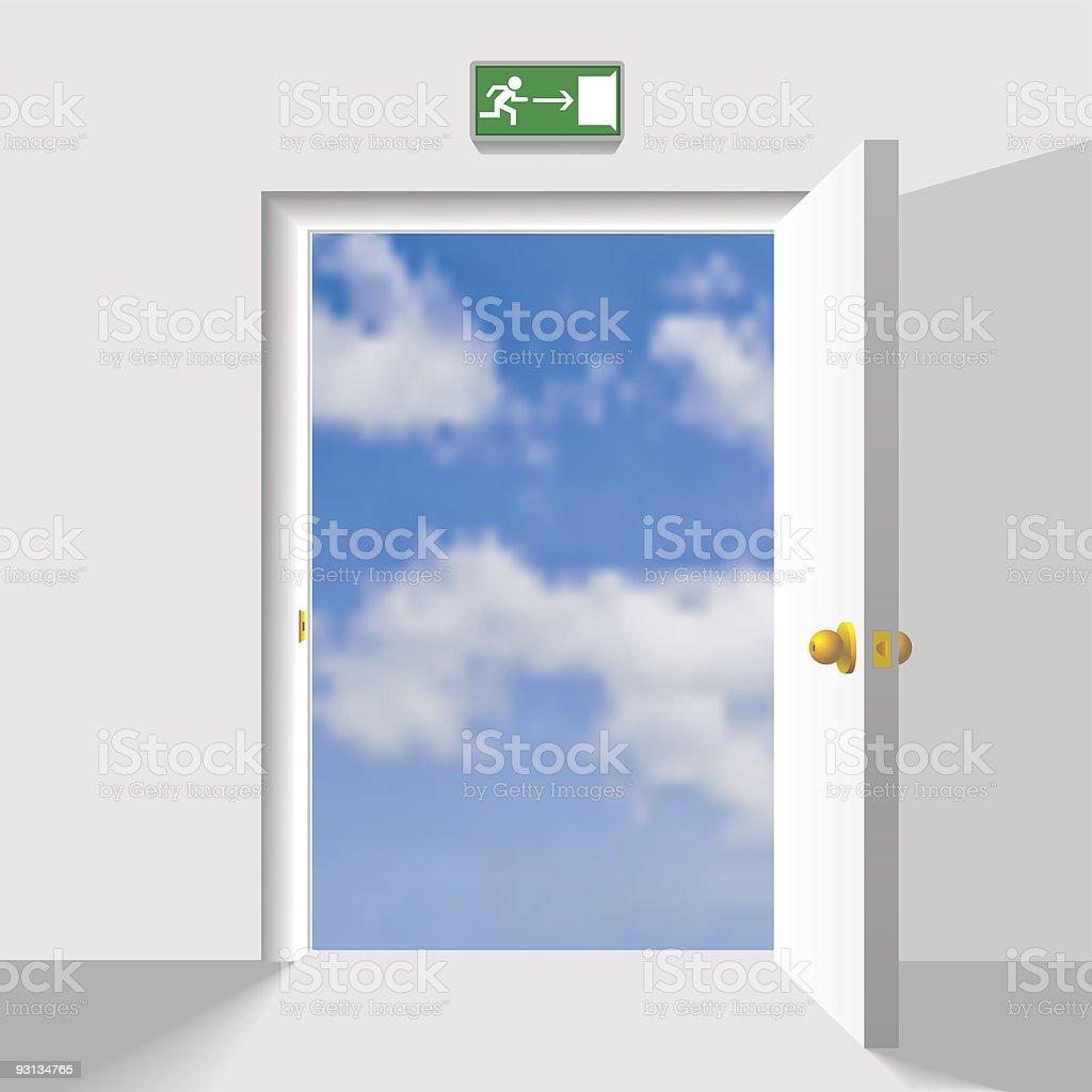 Door to the sky vector art illustration