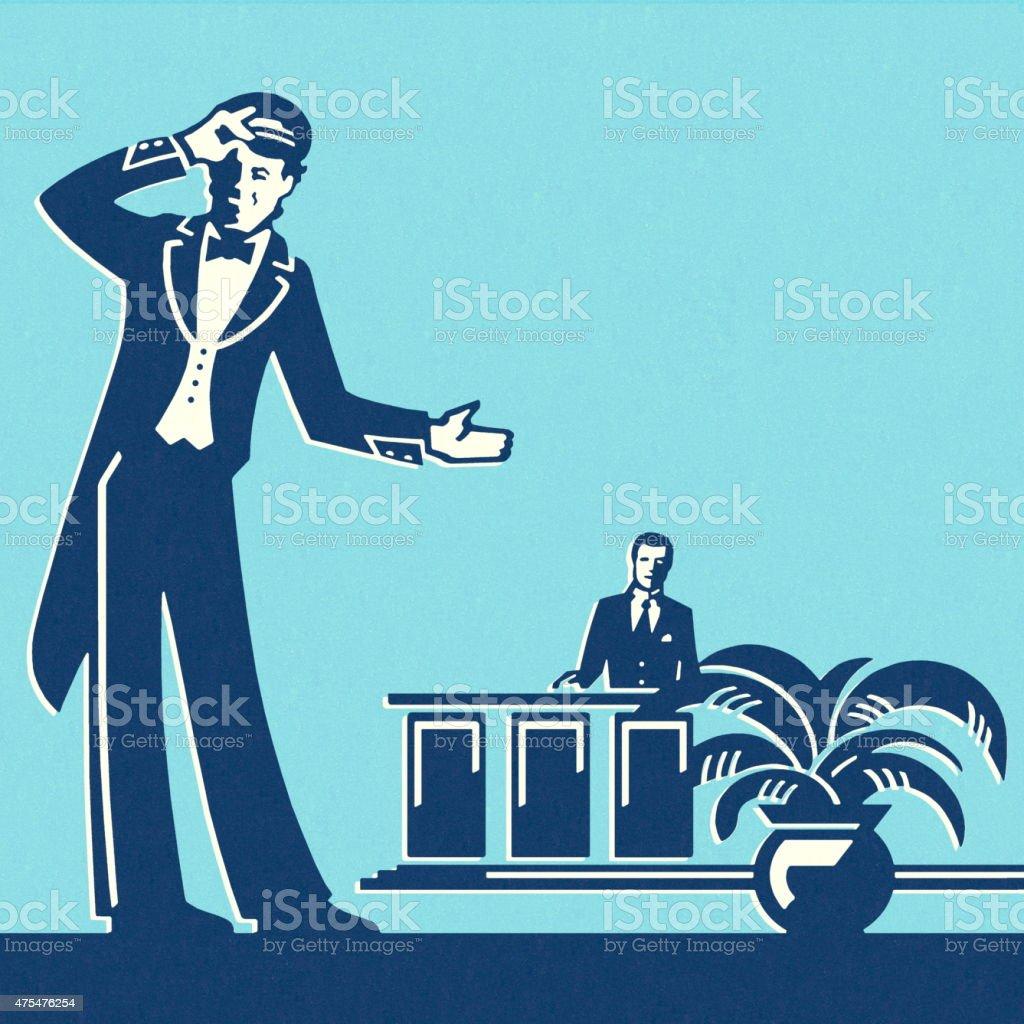 Doorman and Concierge at a Hotel vector art illustration