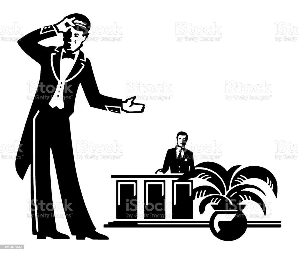 Doorman and Front Desk Clerk vector art illustration